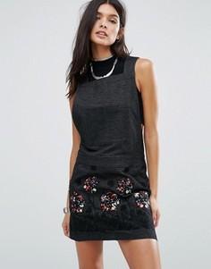 Джинсовое платье с аппликацией Anna Sui Pansy - Черный