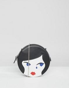 Круглая кожаная сумка через плечо в форме кукольного лица Lulu Guinness - Черный