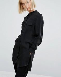 Длинная рубашка с закатанными рукавами Moss Copenhagen - Черный