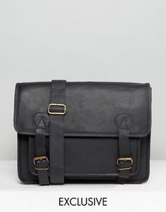 Черный кожаный портфель Reclaimed Vintage - Черный