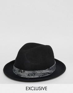 Черная фетровая шляпа Reclaimed Vintage - Черный