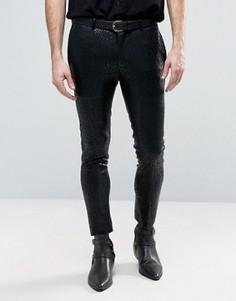 Супероблегающие строгие брюки с леопардовым принтом ASOS - Черный