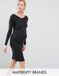 Облегающее платье для беременных с длинными рукавами Mamalicious - Серый Mama.Licious