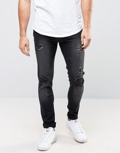 Черные джинсы скинни с заплатками Liquor & Poker - Черный