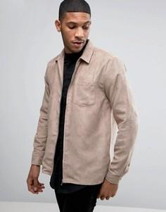 Рубашка навыпуск из искусственной замши на молнии ASOS - Розовый