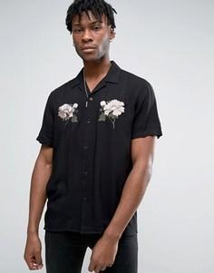Рубашка из вискозы стандартного кроя с вышивкой розы ASOS - Черный