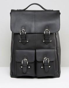 Кожаный рюкзак с карманами спереди ASOS - Черный