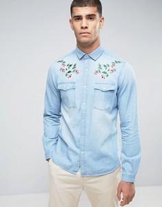 Рубашка классического кроя в стиле вестерн с вышивкой ASOS - Синий