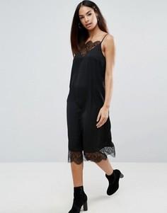 Платье-комбинация миди с кружевными вставками ASOS - Черный
