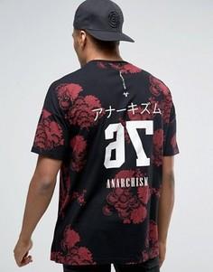 Удлиненная футболка-oversize с цветочным принтом и текстом на спинке ASOS - Черный