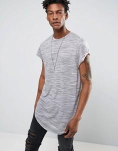 Серая длинная футболка с асимметричным краем и короткими рукавами ASOS - Серый