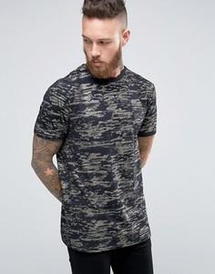 Удлиненная футболка с золотистым узором ASOS - Темно-синий