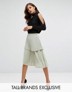 Плиссированная многоярусная юбка миди с оборкой Y.A.S Tall Julia - Зеленый