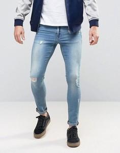 Голубые джинсы суперскинни с рваной отделкой ASOS - Синий