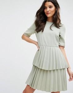 Платье с плиссированной юбкой Y.A.S Julia - Зеленый