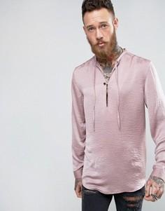 Розовая атласная удлиненная рубашка классического кроя с завязкой спереди ASOS - Розовый