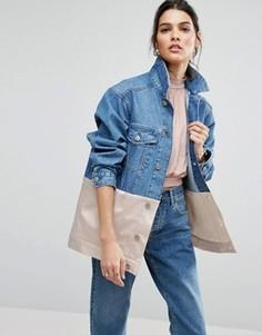 Джинсовая куртка с розовой атласной вставкой ASOS - Синий