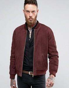 Бордовая замшевая куртка-пилот с золотистыми молниями ASOS - Красный