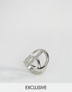 Кольцо с символом мира DesignB London - Серебряный