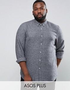 Фактурная серая рубашка стандартного кроя ASOS PLUS - Серый