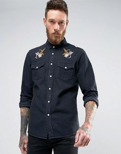 Джинсовая рубашка классического кроя в стиле вестерн с рваной отделкой и вышивкой ASOS - Черный
