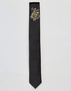 Узкий галстук с вышивкой тигра ASOS - Черный
