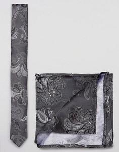 Галстук и платок-паше с принтом пейсли с добавлением шелка ASOS - Серый