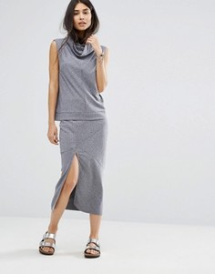 Трикотажная юбка в рубчик Minkpink Move - Темно-синий