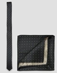 Узкий галстук и платок для нагрудного кармана с золотистой отделкой ASOS - Золотой