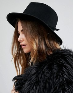 Черная фетровая шляпа с поплиновой лентой Brixton Manhattan - Черный