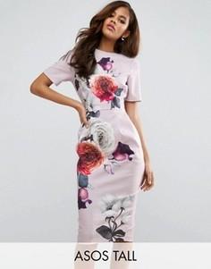 Тканое платье миди с V-образным вырезом сзади и принтом роз ASOS TALL - Мульти