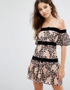 Платье с открытыми плечами For Love and Lemons Clemence - Мульти