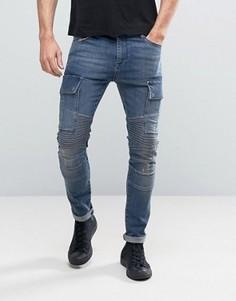 Синие суперузкие джинсы в байкерском стиле ASOS - Синий
