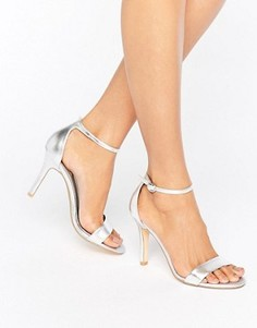 Серебристые сандалии из двух частей на каблуке Dune Hydro - Серебряный