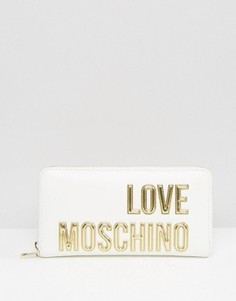 Кошелек с большим логотипом Love Moschino - Белый