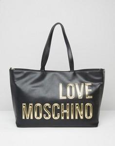Сумка-шопер с логотипом Love Moschino - Черный