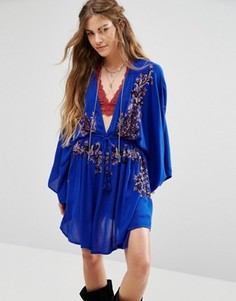 Платье с вышивкой Free People - Синий