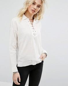 Рубашка со шнуровкой Honey Punch - Кремовый