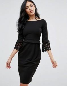 Платье-футляр с рукавами 3/4 и кружевными манжетами City Goddess - Черный