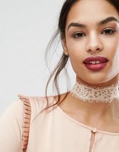 Кружевное ожерелье с завязками Johnny Loves Rosie - Кремовый