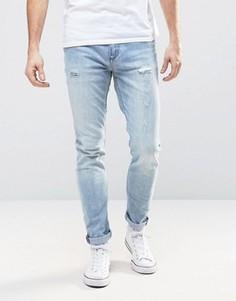 Синие выбеленные узкие джинсы с заплатками Rollas Thin Captain - Синий Rollas