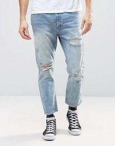 Песочные укороченные джинсы слим с рваной отделкой Rollas Stubs - Синий Rollas