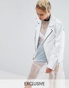 Кожаная байкерская куртка в стиле oversize Milk It Vintage - Белый