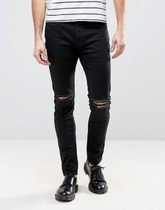 Черные джинсы слим с рваной отделкой Rollas Thin Captain - Черный Rollas