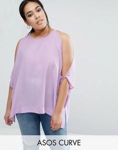Футболка-кимоно с открытыми плечами ASOS CURVE - Фиолетовый