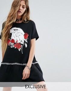 Платье-свитшот с оборками по краю Reclaimed Vintage - Черный