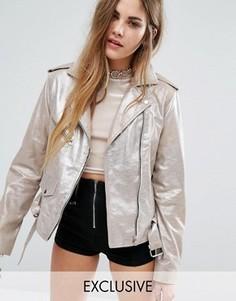 Кожаная байкерская куртка с блестками Reclaimed Vintage - Золотой
