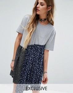 Свободное платье из комбинированных материалов Reclaimed Vintage - Мульти