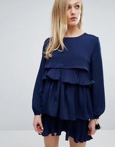 Платье с плиссированной отделкой Sister Jane - Темно-синий