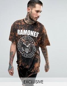 Oversize-футболка с принтом Ramones спереди и сзади Reclaimed Vintage - Черный